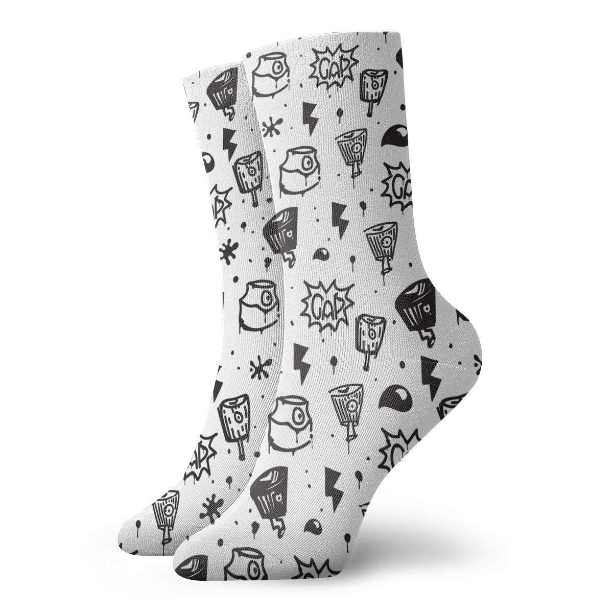 Unisex Graffiti Image Athletic Quarter Ankle Print Breathable Hiking Running Socks