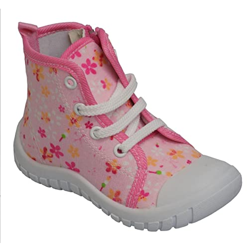 Modit Girls Toddlers FLASH-103 Pink Floral High Top Lace Up Side Zip Shoes (