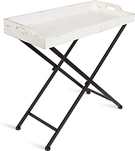 Kate and Laurel Marmora Wood and Metal Tray Table with Removable Wood Tray Top, White