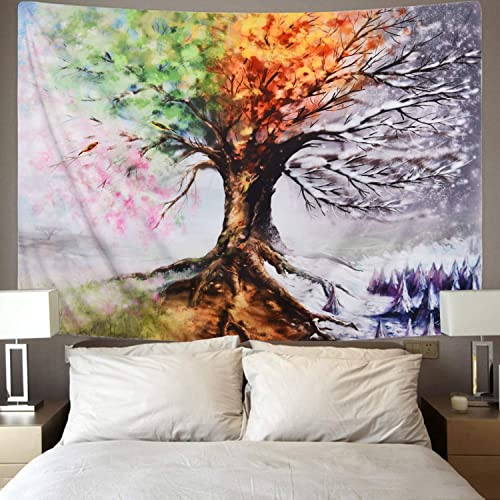 Four Season Tree Tapestry, Snow Forest Nature Tapestry, Spring Summer Autumn Winter Effect Tapestry Wall Hanging for Living Room Bedroom Dorm Room