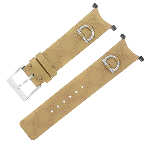 332b70895ca Image Unavailable. Image not available for. Color  Gucci YFA50025 U-Play  Gold Leather Bracelet   Bezel ...