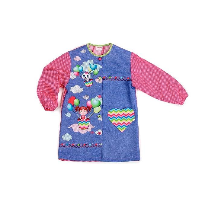 Dyneke Bata escolar botón Globos (personalización opcional gratuita con nombre bordado) (Talla 5