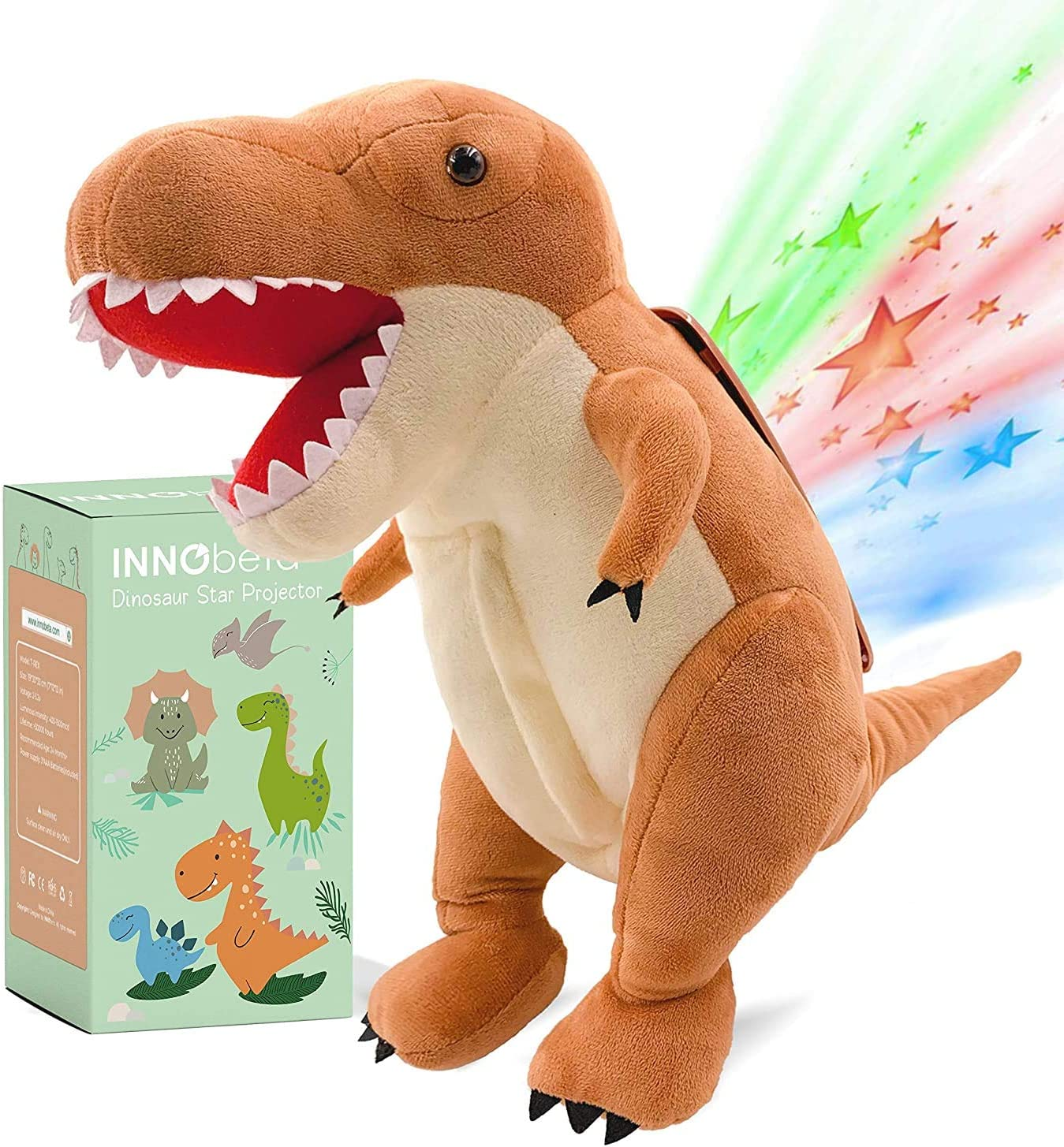 Dinosaur Nursery Decor Dinosaur Star Projector Night Light Toddlers 14 T-Rex Stuffed Animal Plush Baby Sleep Soother Birthday Gifts for Boys Kids Girls INNObeta
