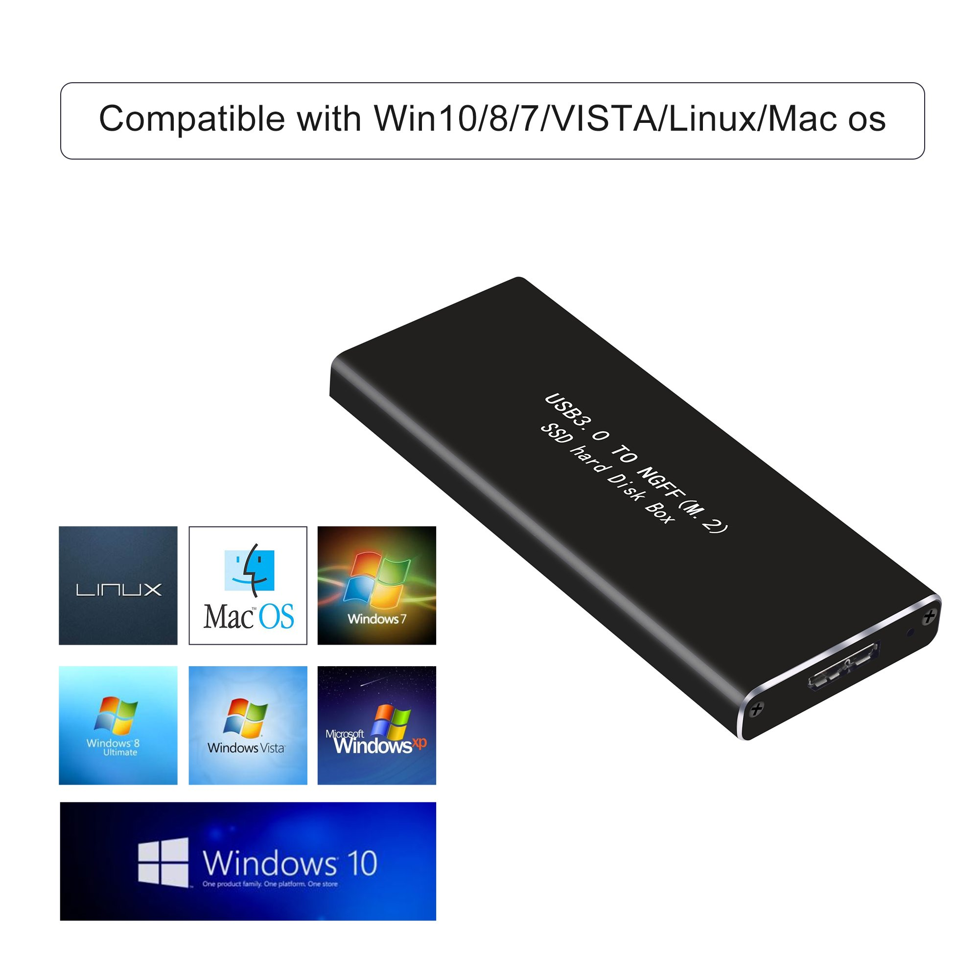 M.2 SSD to USB 3.0 External Enclosure 6Gbps UASP, Hard Drive Disk HDD Housing Portable Case Support NGFF M.2 SATA-based B Key/B+M Key Driver 2230 2242 2260 2280 by Mveohos (Image #7)