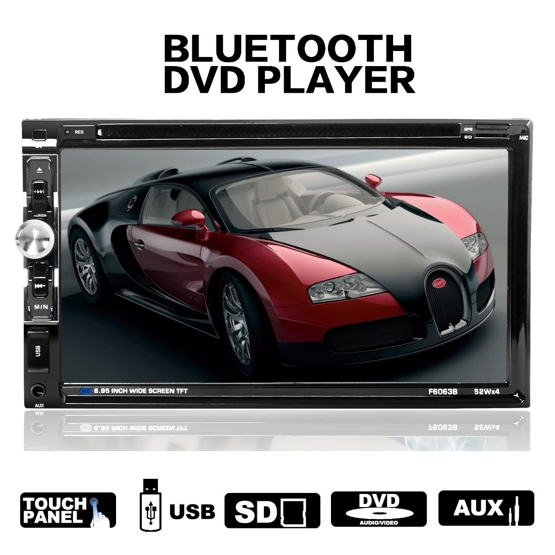 LSLYA(TM) Steering Wheel Control 2 din HD In dash Car stereo DVD CD MP5 MP4 MP3 Player Radio Video Audio Bluetooth 6.95 Inch Touch Screen SD,USB,Radio,FM support with remote (6063B)