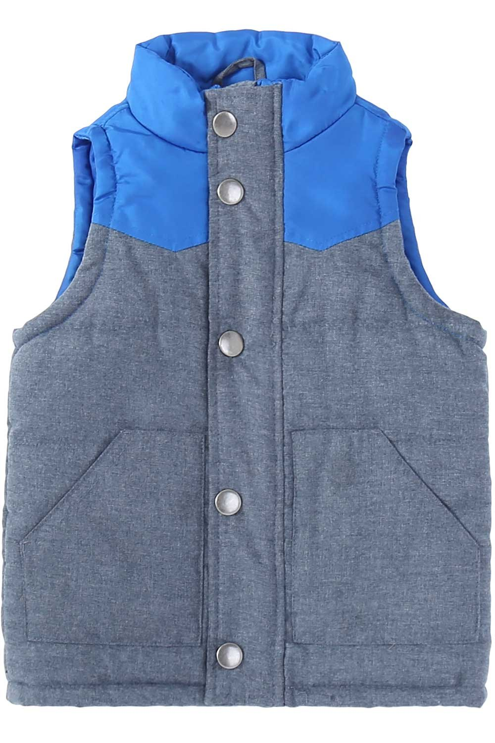 Bienzoe Little Boy Zip Quilted Sleeveless Warm Cotton-Padded Gilets