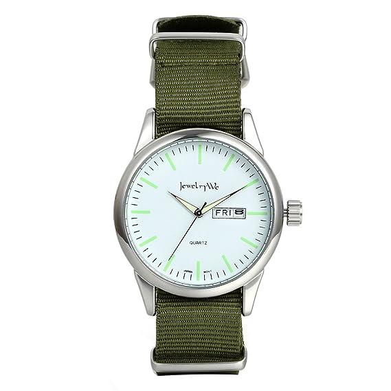 af1d43c986 JewelryWe シンプル 美観 腕時計 丸型 文字盤 日本製クオーツ ウオッチ カレンダー付き ナイロンバンド