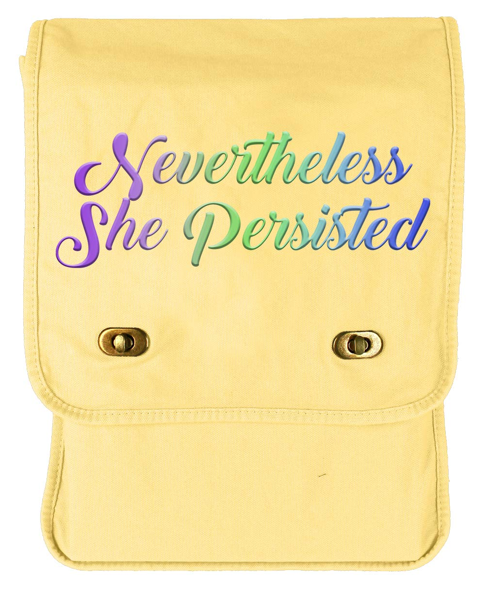 Tenacitee Nevertheless She Persisted Fade Flamingo Raw Edge Canvas Messenger Bag