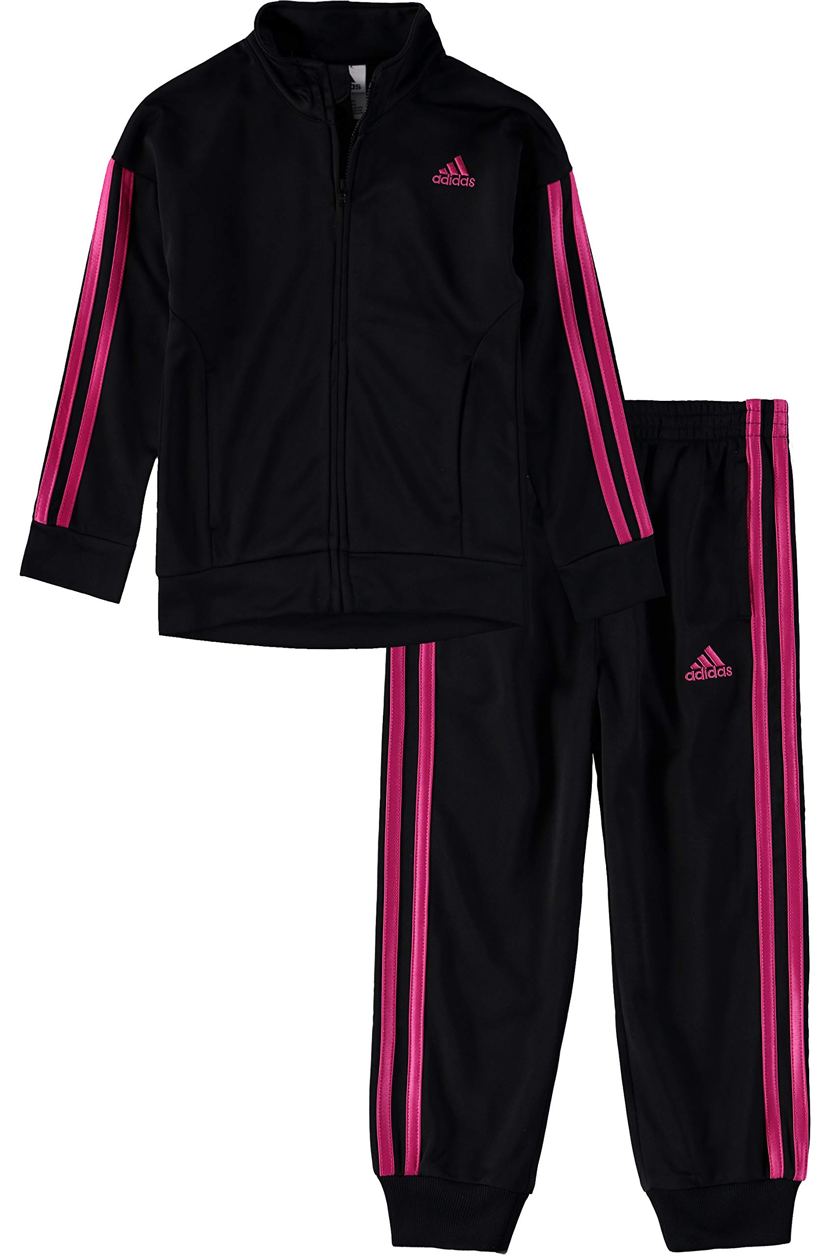 adidas Tricot Jacket Pant Set (Black/Pink, 3T)