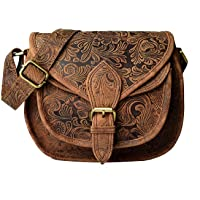 LEADERACHI Women's Printed Muskat Leather Crossover Bag