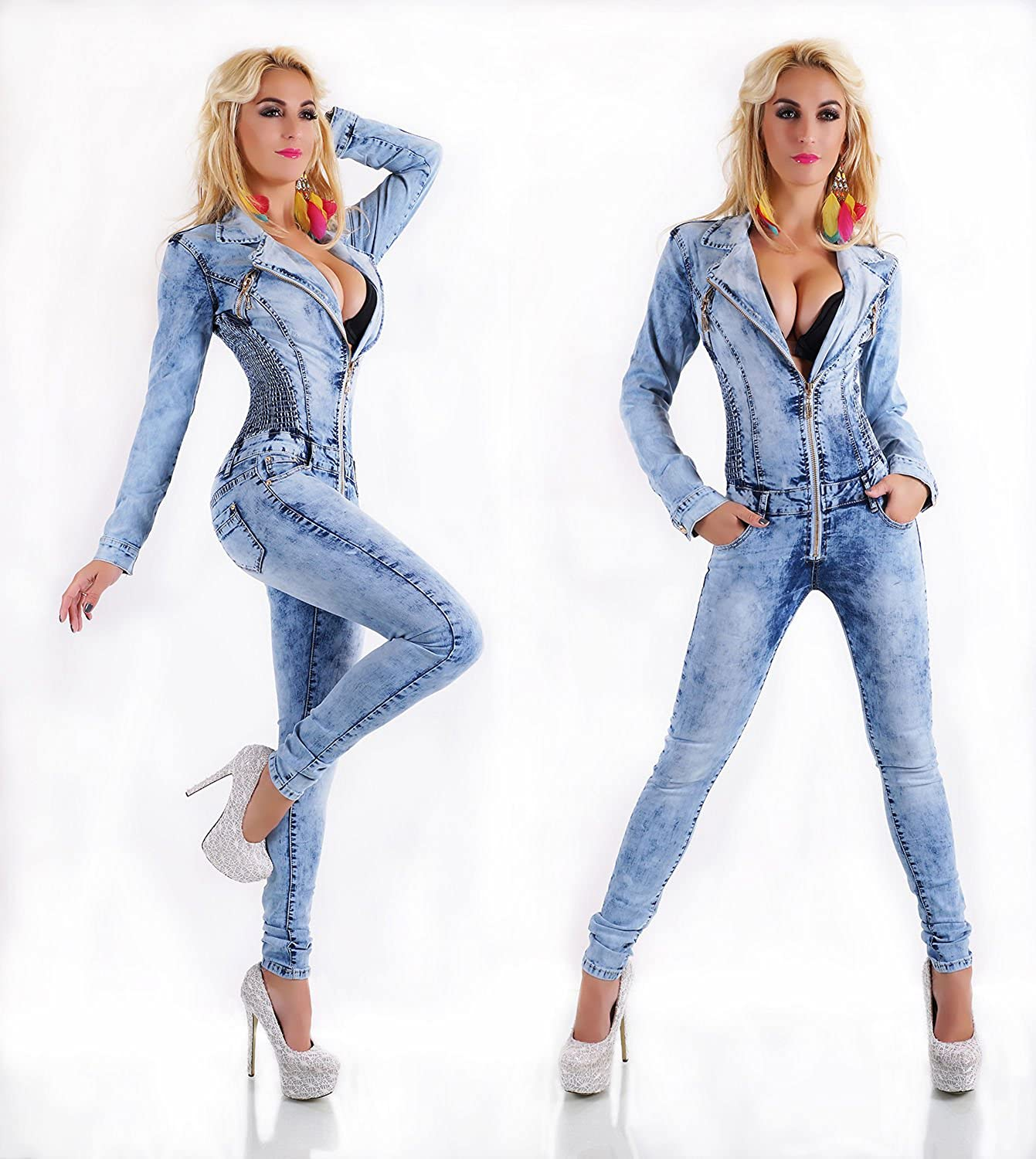 c88416be8d Miss Fusion Sexy Women Longsleeve Blue Denim Jumpsuit Ladies Overall 6 8 10  S Jeans Playsuit (S 8 36)  Amazon.co.uk  Clothing