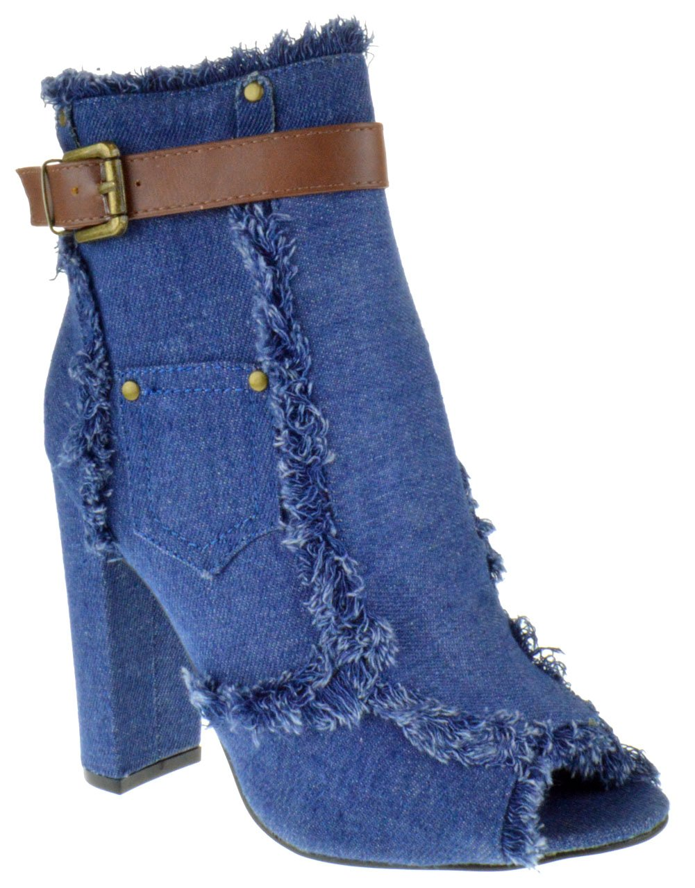 Foever Sherry 10 Womens Freyed Denim Peep Toe Chunky Heel Booties Light Blue Denim 8.5
