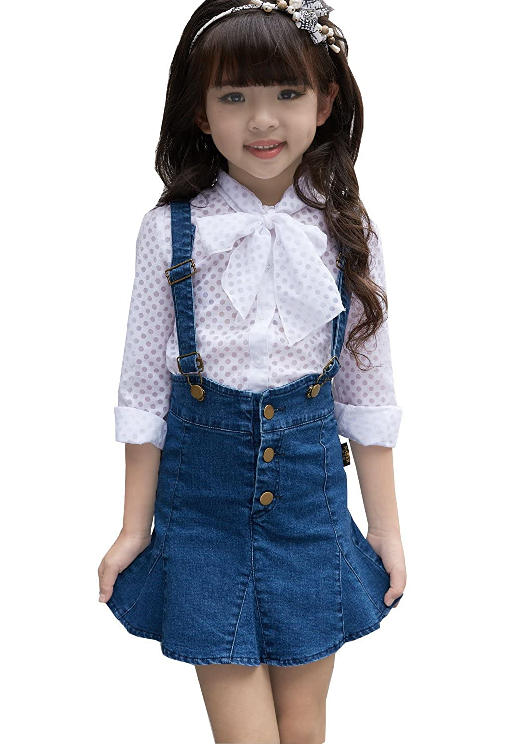 NABER Girls' Fashion Suspender Jeans Skirts Overall Pleated Denim Skirts 4-12 Y