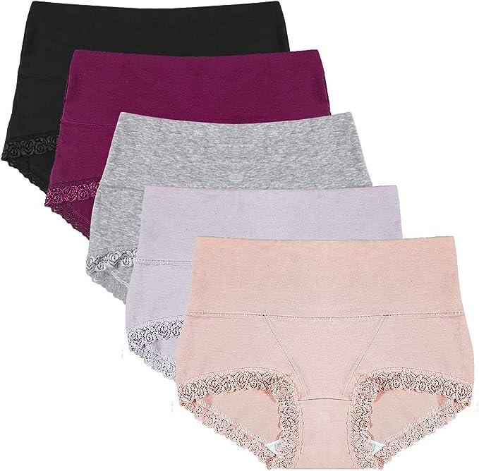 Dokpav Braguitas Culotte Algodón para Mujer Bragas de Cintura Alta Cómodo Shorts Algodon Altas de Encaje Shapewear Pack de 5: Amazon.es: Ropa y accesorios