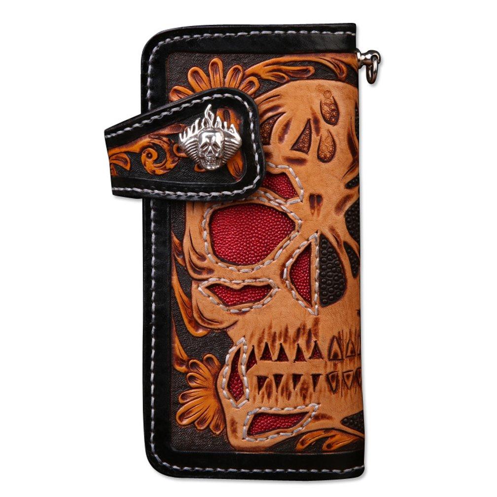 [龍紋鬼] 和柄財布 完全オリジナル手作り 牛革 レーザーウオレット 長財布 B01N9POVKN スカル- 1ボタン スカル- 1ボタン