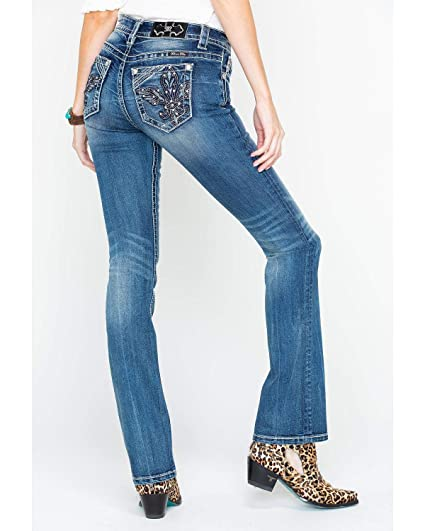 1ca9ef5a255 Miss Me - Womens M3227B Metallic Wing Mid-Rise Boot Cut Jeans   Amazon.co.uk  Clothing