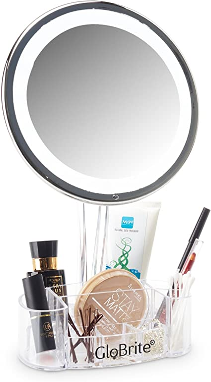 Globrite 5/x lupa LED Make Up Espejo con organizador