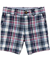 Boy's Carter's Navy Plaid Cotton Adjustable Waist Dress Shorts Size 5