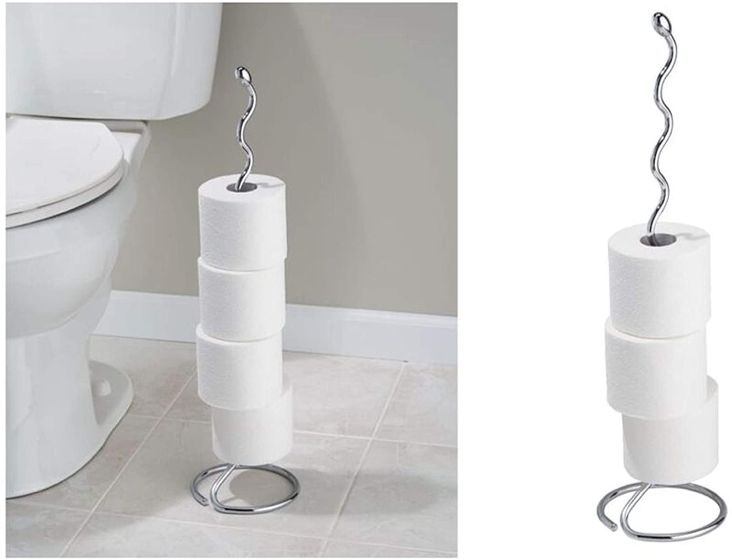 Idesign 68600eu Orbinni Metal Toilet Tissue Roll Reserve For Bathroom Compact Squiggle Organizer Caddy Holds 4 Rolls Of Paper Chrome Home Kitchen