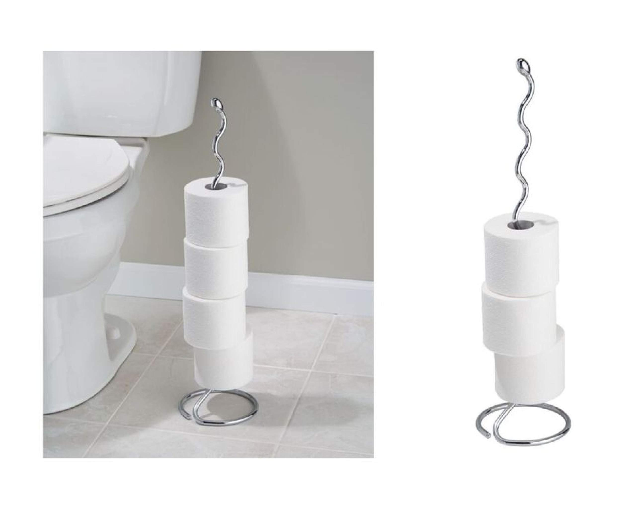 iDesign Orbinni Metal Toilet Tissue Roll Reserve for Bathroom, Compact Squiggle Organizer Caddy, Holds 4 Rolls of Paper, Chrome by iDesign