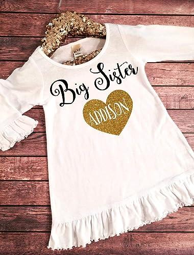 9e3b06023 Amazon.com: Big Sister Dress, Big Sister Announcement Dress, Big Sister  Shirt, Big Sister Glitter dress, Big Sister Outfit, Big Sister Top,Big Sis  to be: ...
