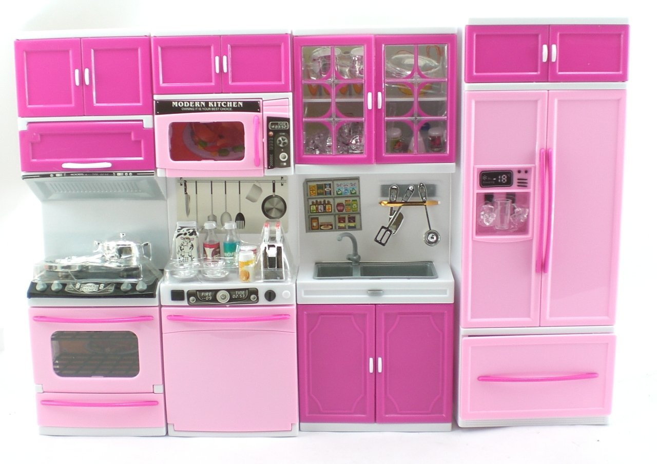 Barbie Kitchen Furniture Amazoncom Pink Deluxe My Modern Barbie Size Kitchen Stove Fridg
