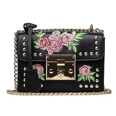 Women Embroidery Flower Flap Bag PU Leather Fashion Rivet Messenger Bags Ladies Small Shoulder Bag Sac