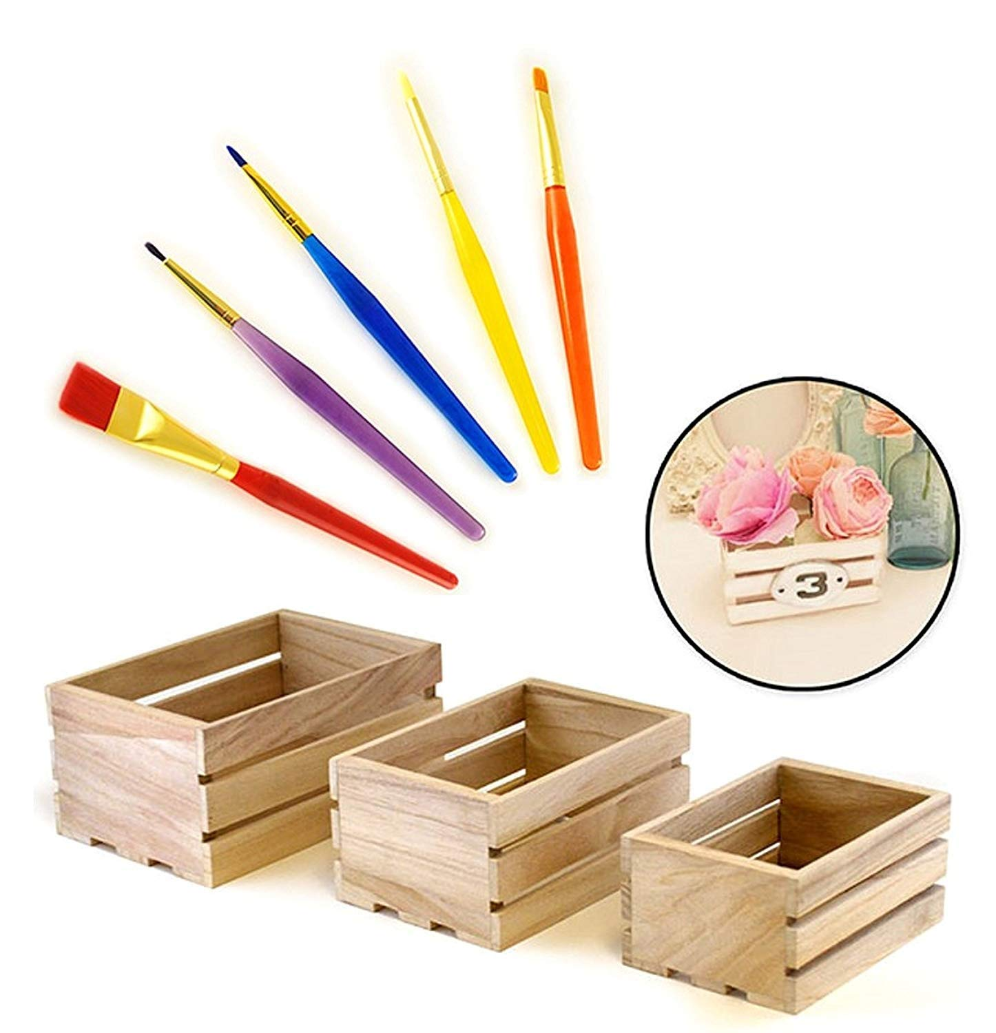 Set of 3 SMALL wood crates with 5 piece paint brush set … Multicraft