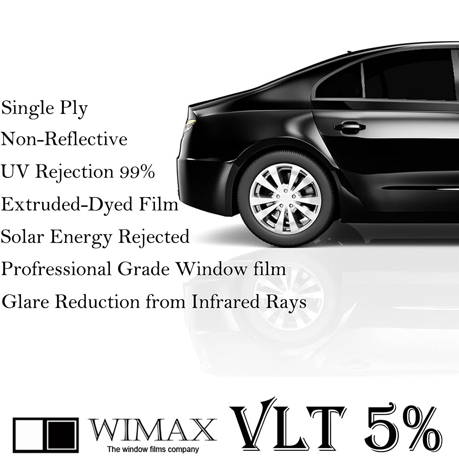 24 X 240 Inch Mkbrother 2PLY 1.5mil Professional Uncut Roll Window Tint Film 5/% VLT 24 In x 20 Ft Feet