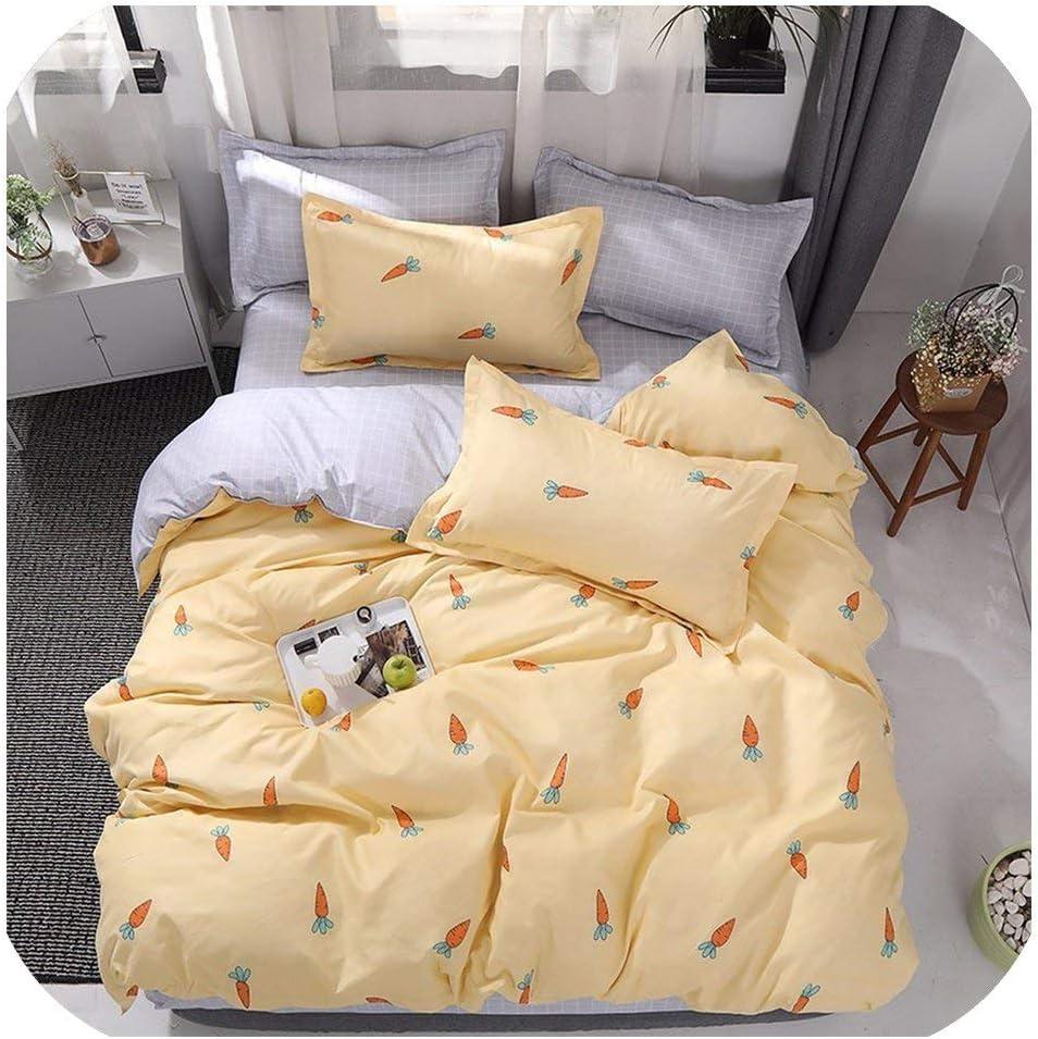 LOVE-JING Home Textile Pink Girl Heart Bedding Set 3/4Pcs Quilt Cover Queen Full King Size Children Cartoon Duvet Cover Bedclothes,K05,King 4Pcs,(Flat Bed Sheet)