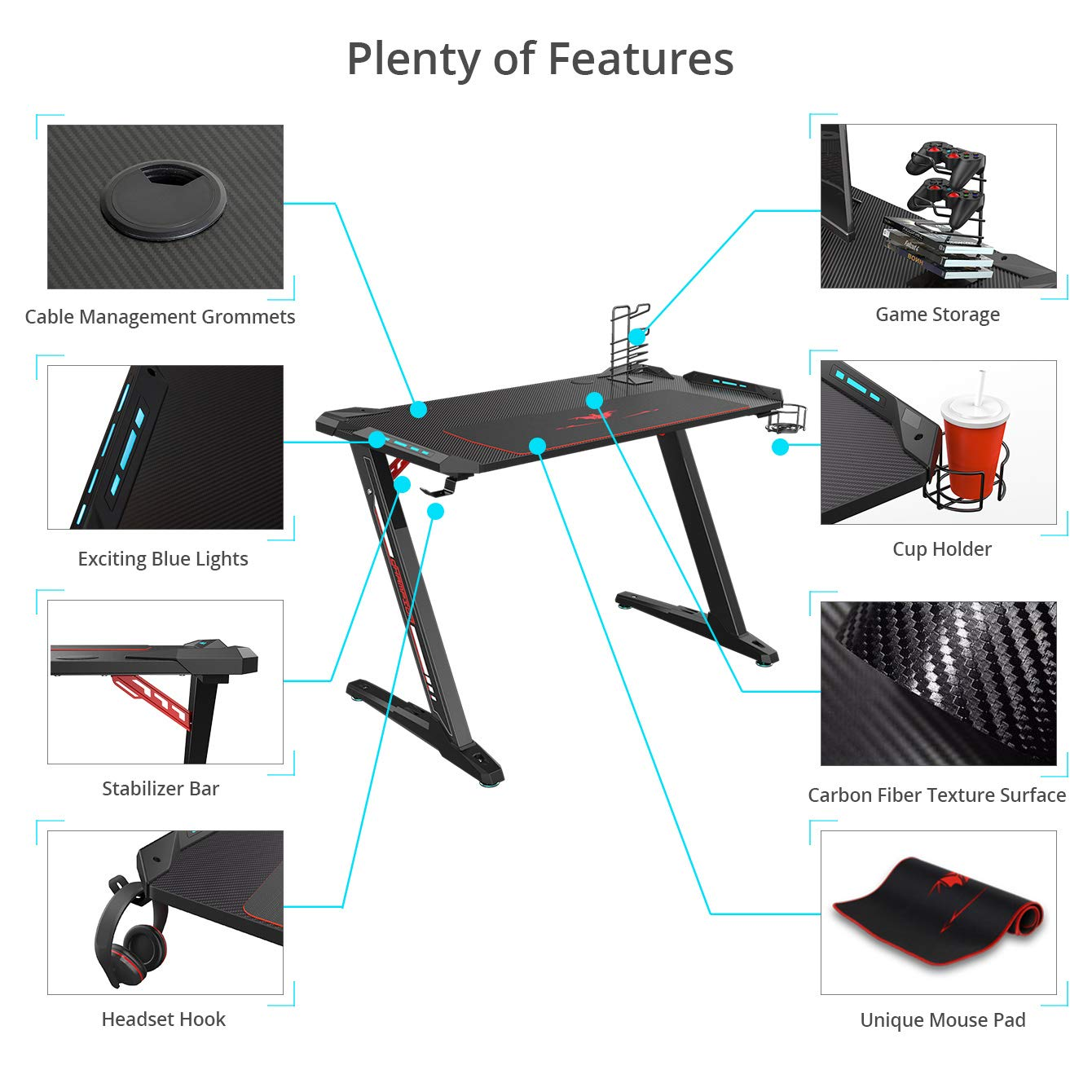 Eureka Ergonomic Z1-S Gaming Desk - Mesa de juegos para computadora, mesa de juegos, mesa de juegos para PC con luces LED, fibra de carbono, ...