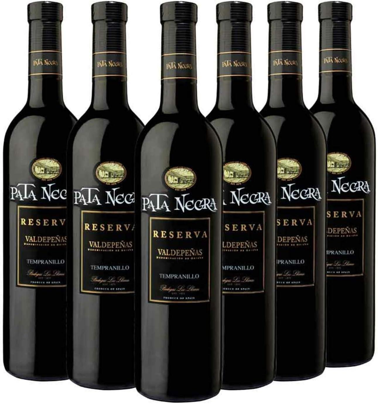 Pata Negra Crianza Vino Tinto D.O Valdepeñas - Pack de 6 Botellas ...