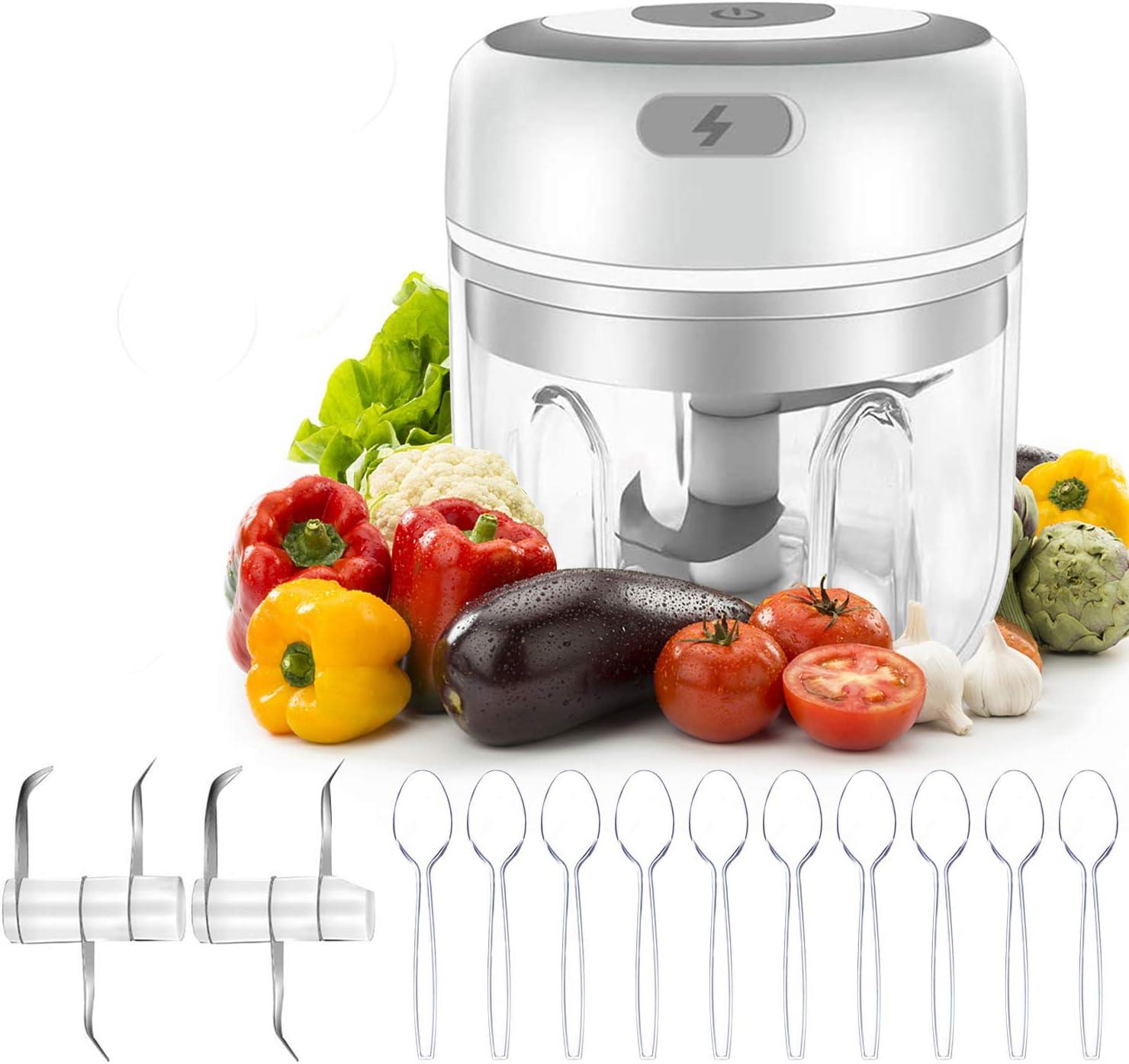 Electric Mini Garlic Chopper, Mini Food Chopper, Portable Waterproof Mini Food Processor, Garlic Grinder Chopper Mini Blender with USB Charging For Pepper Meat Chili Vegetable Nuts (250ML)