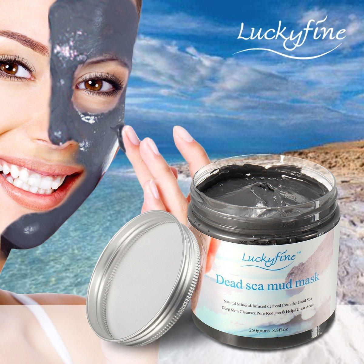 Masque Noir Masque de boue d'algues LuckyFine Dead sea mud mask Anti-Point Masque, Point Noir Masque, Black Head Masque, Nettoyant en profondeur 250g