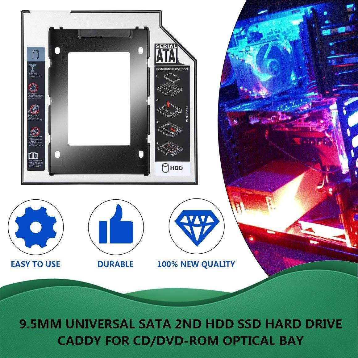 Funnyrunstore 9.5 mm Universal de Aluminio SATA Second HDD SSD ...