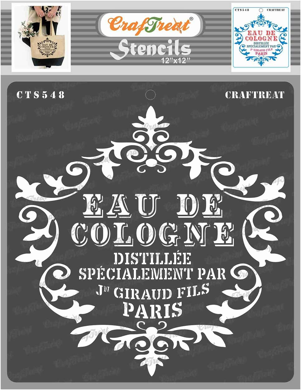 CrafTreat French Stencils for painting on Wood, Canvas, Paper, Fabric, Floor, Wall and Tile - Eau De Cologne - 12x12 Inches - Reusable DIY Art and Craft Stencils for Home Decor - french Script Stencil