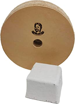 Buffing Compound Included 3//4 Wide, 10mm Arbor 3 Leather Stropping And Polishing Wheel For Bench Grinders W// 10mm Arbor