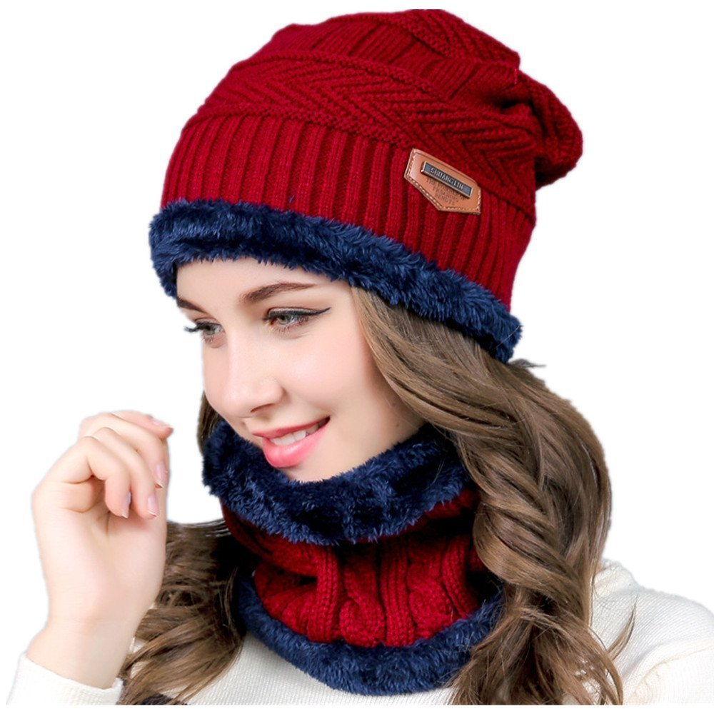 LIANGLIANG Women Winter Knitted Wool Hat Plus Cashmere Cap with a Full Set of Neck