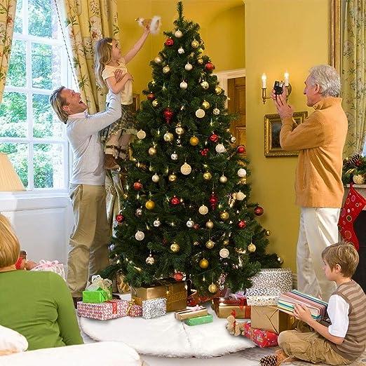 AMAUK 47.24inches bianco finto pelliccia albero gonna ornamenti doppio strato di design per Buon Natale e capodanno festa vacanza decorazioni per la casa Gonna albero di Natale