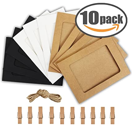 Amazon.com: Paper Photo Frame 4x6 Kraft Paper Picture Frames 10 PCS ...