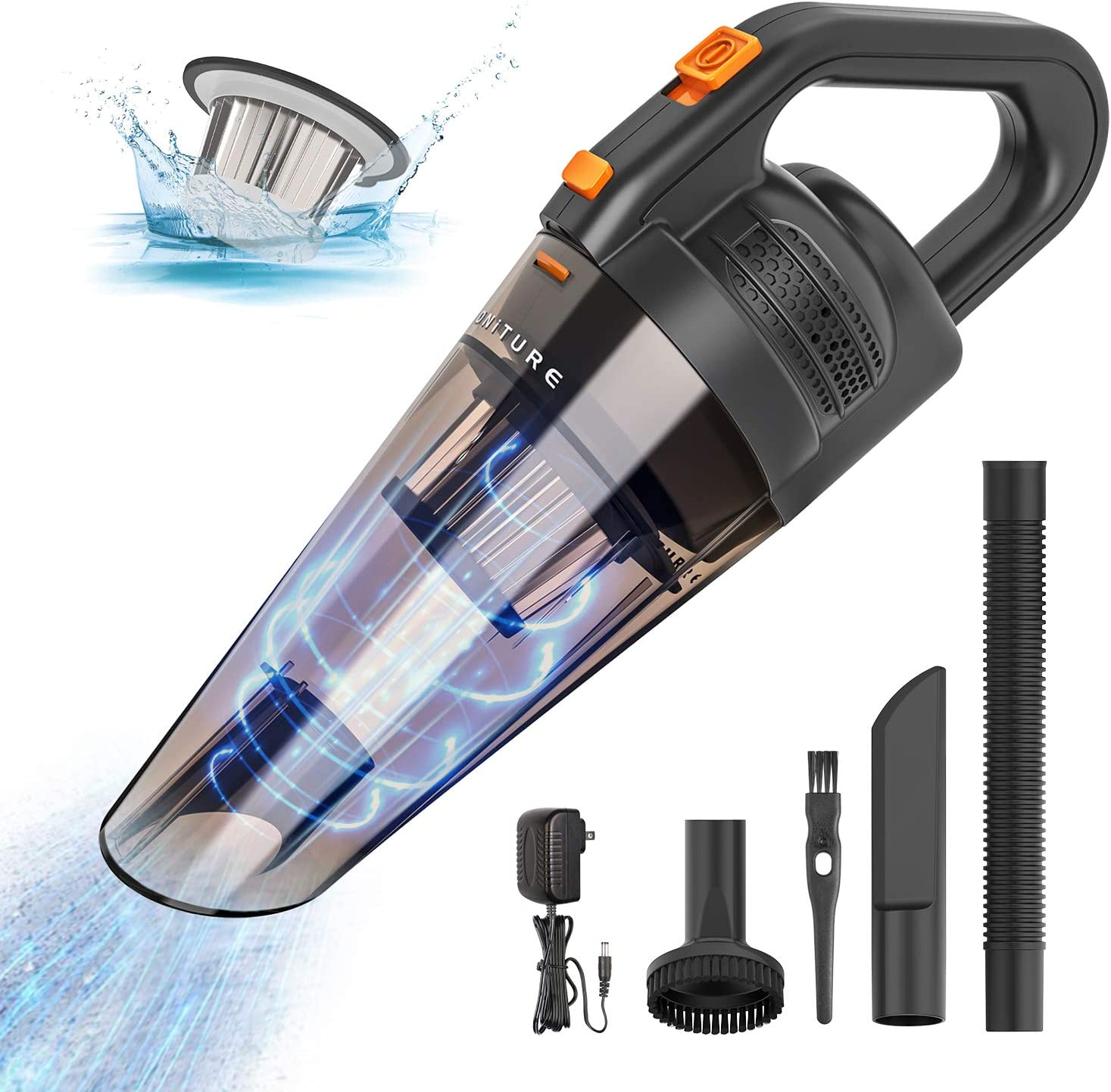 HONITURE Handheld Vacuum Cordless 8000PA Powerful Suction Car Vacuum Cleaner Portable Hand Vac Rechargeable Vacuum Cleaner with LED Light for Home and Car Cleaning