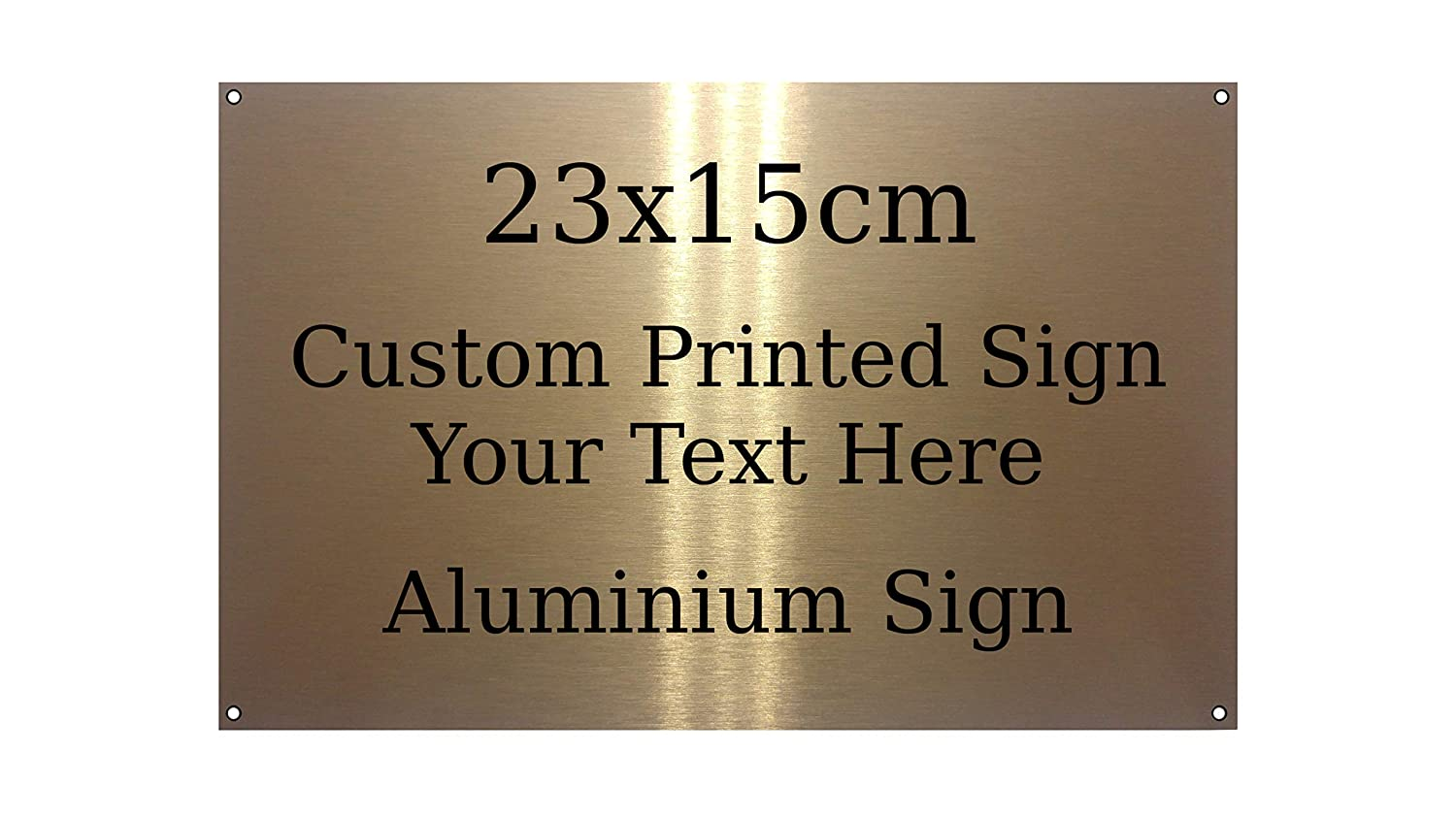 Sticky Pads, Tape Rounded Custom Personalised Your Text Brushed Gold Metal Aluminium Sign Door Plaque 23x15cm