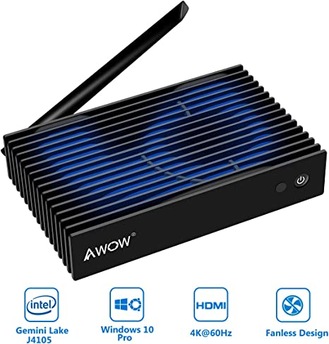 AWOW NV41 Fanless Mini PC, Intel Gemini Lake J4105 Windows 10 Pro ...