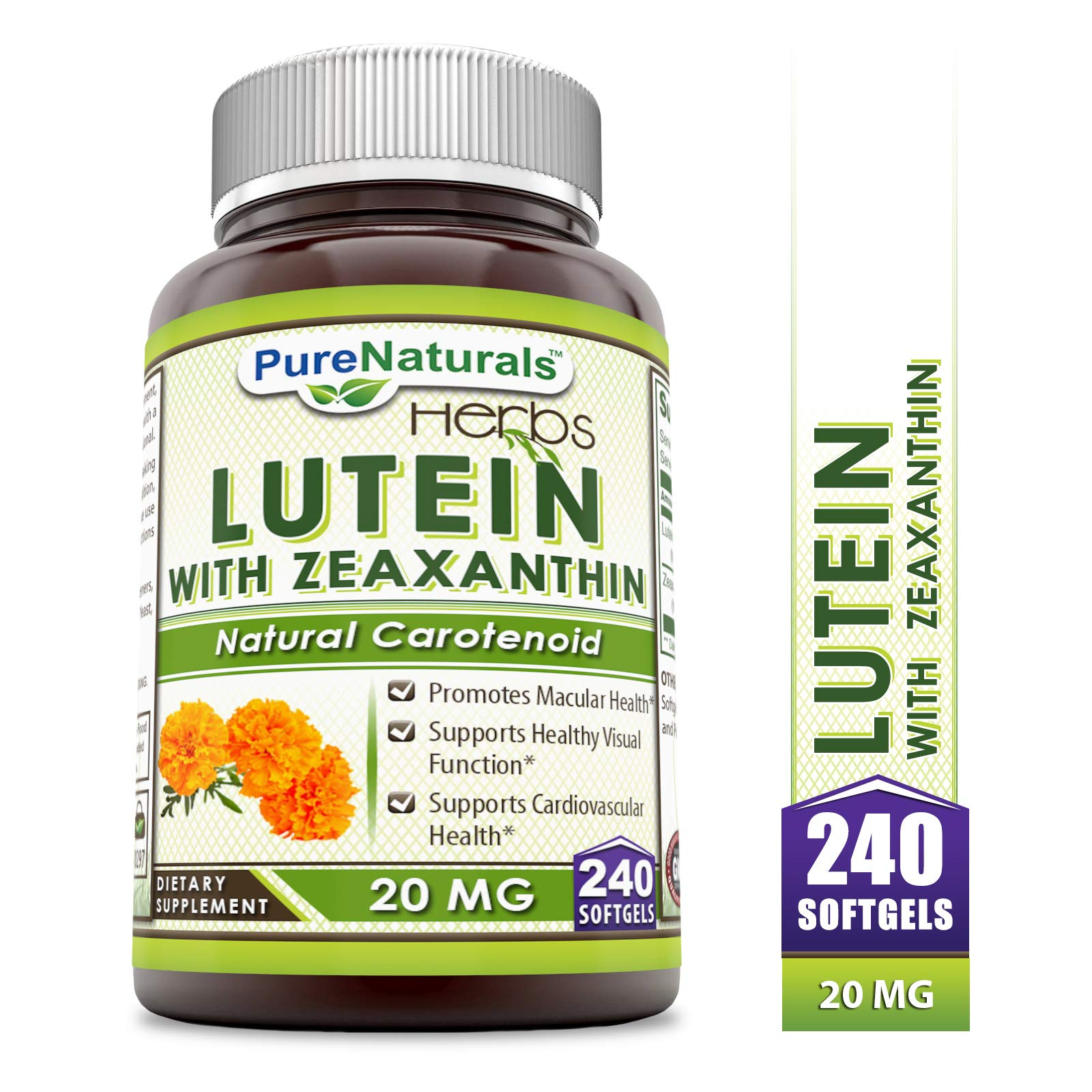 Pure Naturals Lutein, 20 mg, 240 Softgels by Pure Naturals