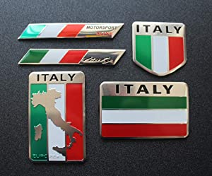 5pcs Italy Flag Decal Sticker - Emblem Made from Aluminum Alloy - Perfect for Any Vehicle, Truck, car, Motorcycle, RV, Scooter,SUV,Door, window