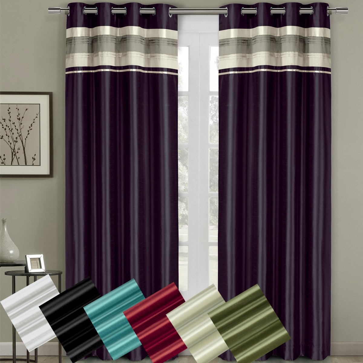Milan Sage Top Grommets Blackout Multiple layers Fabric, Window Curtain Panels, 54x84 inches Single Panel, by Royal Hotel by Royal Hotel (Image #1)