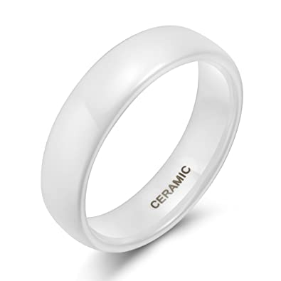 6mm White Ceramic Rings for Men Women Comfort Fit Engagement Wedding