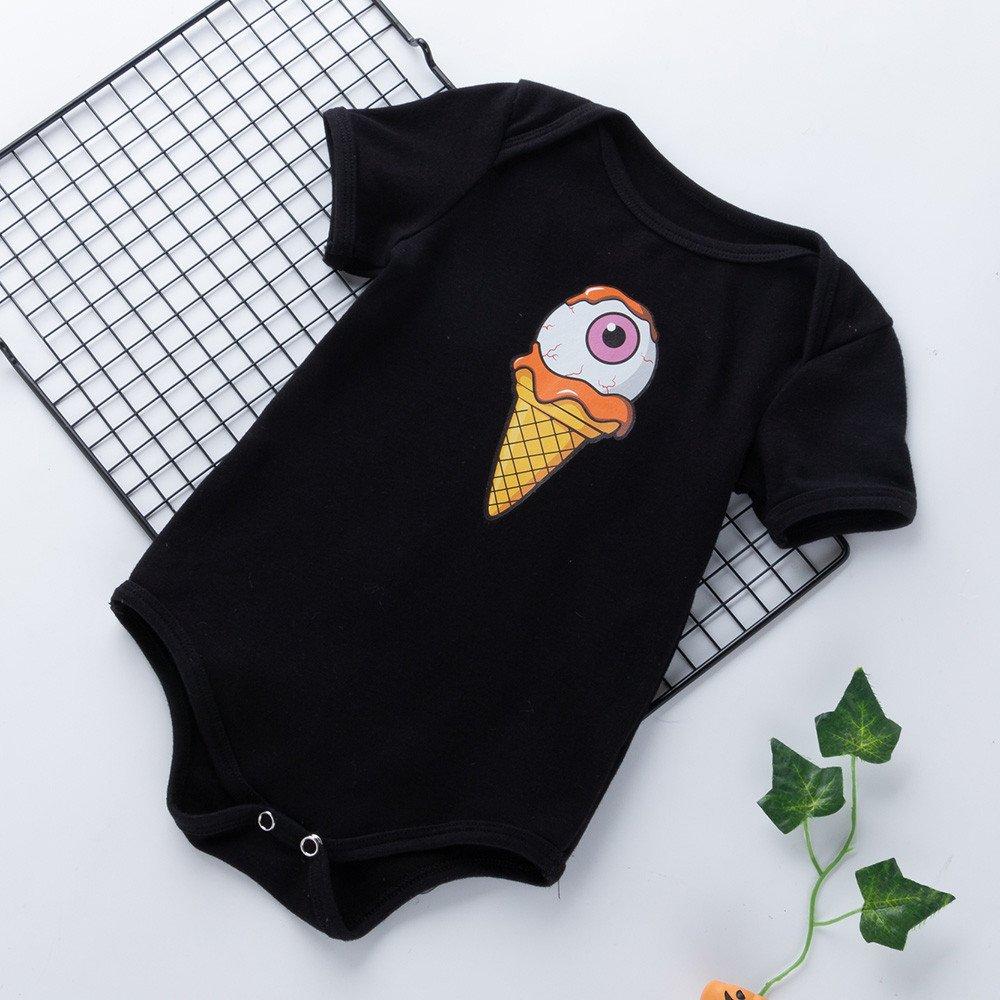 XUANOU Newborn Toddler Infant Baby Girls Boys Pumpkin Print Rompers Outfits Short Sleeve Halloween Cat Pumpkin Robes