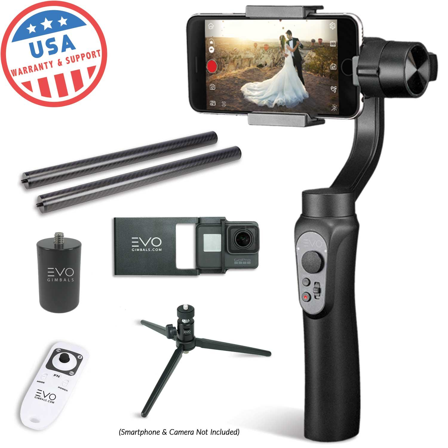 EVO Shift Camera Stabilizer Handheld Gimbal for iPhone or Android Smartphones, Bundle Includes EVO Shift, GoPro Adapter Plate, Tripod, Wireless Remote Gen2, 25mm CF Poles, PA-100 Adapter (7 Items) by EVO Gimbals
