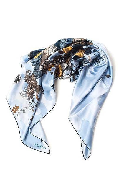 nuovo concetto d2ad1 ff671 FURLA Foulard Azzurro Seta Donna: Amazon.it: Abbigliamento